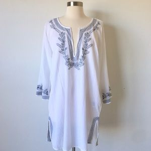 Beachy Boho Embroidered Cotton Coverup Dress